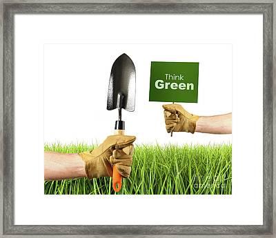 Hands Holding Garden Trowel And Sign Framed Print by Sandra Cunningham