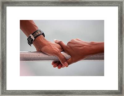 Hands Of President Obama And Michelle Framed Print