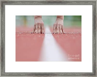 Hands On The White Line Framed Print
