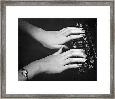 Hands Typing Framed Print by George Marks