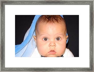 Handsome Baby Boy Framed Print by Jose Lopez