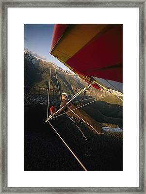 Hang Glider Over Telluride, Colorado Framed Print by Skip Brown