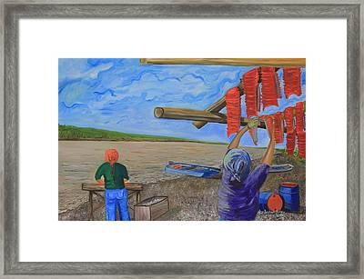 Hanging Salmon On The Yukon River Framed Print by Amy Reisland-Speer