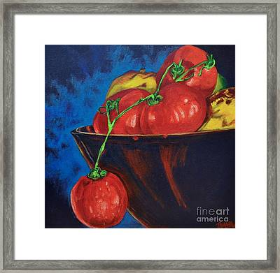 Hanging Tomato Framed Print by Theresa Eisenbarth