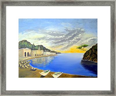 Framed Print featuring the painting Hanging Tree On The Mediterranean by Larry Cirigliano