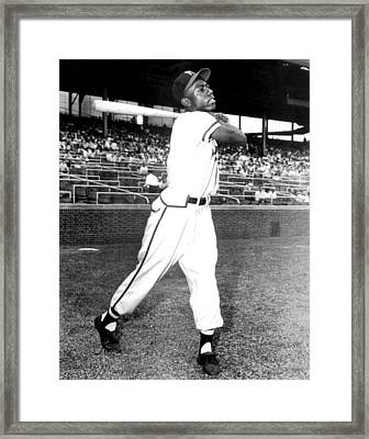 Hank Aaron Of The Milwaukee Braves, Ca Framed Print