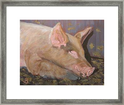Framed Print featuring the painting Happy As A Pig by Joe Bergholm