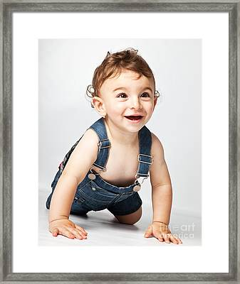 Happy Baby Boy  Framed Print by Anna Om