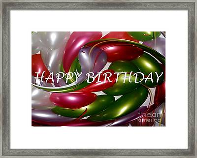 Happy Birthday - Balloons Framed Print by Kaye Menner