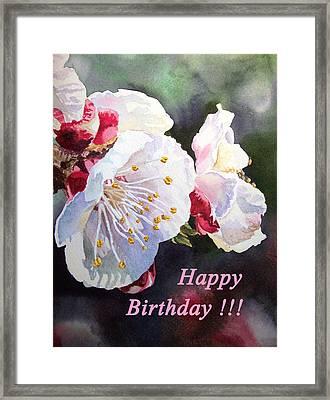 Happy Birthday Card Apricot Flowers Framed Print by Irina Sztukowski