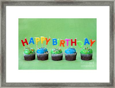 Happy Birthday Cupcakes Framed Print by Darren Fisher