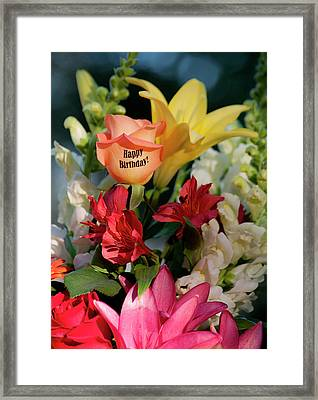 Happy Birthday Flowers - Portrait Framed Print by ShaddowCat Arts - Sherry