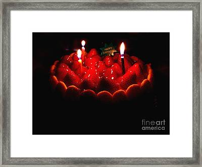 Happy Birthday Strawberry Charlotte Cake Framed Print by Wingsdomain Art and Photography
