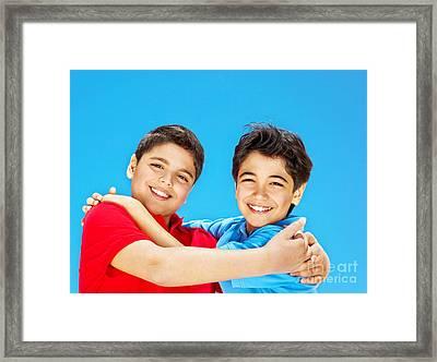 Happy Cute Boys Over Blue Sky Framed Print by Anna Om