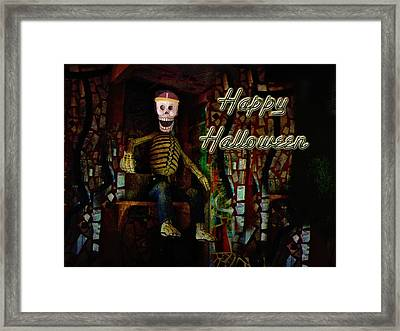 Happy Halloween Skeleton Greeting Card Framed Print by Mother Nature
