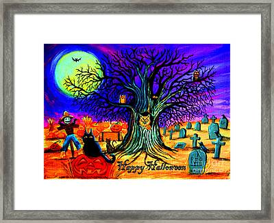 Happy Halloween Spooky Night Framed Print by Nick Gustafson