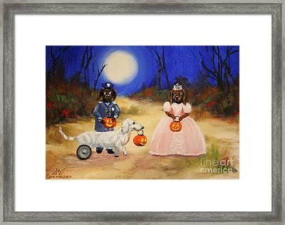 Happy Halloweenies Mummy Policeman And Princess Framed Print by Stella Violano