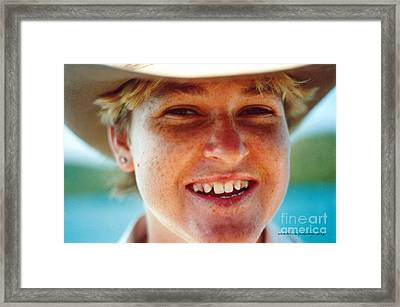 Happy Island Girl Framed Print