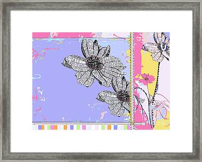 Happy Joyful Flowers Licensing Art Framed Print
