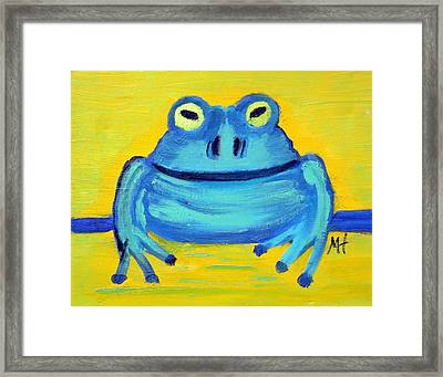 Framed Print featuring the painting Happy Male Frog by Margaret Harmon