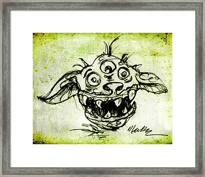 Framed Print featuring the drawing Happy Monster  by Nada Meeks