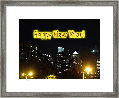Happy New Year Greeting Card - Philadelphia At Night Framed Print by Mother Nature
