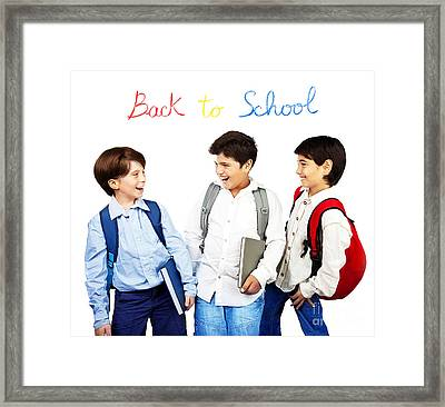 Happy Schoolboys Framed Print by Anna Om