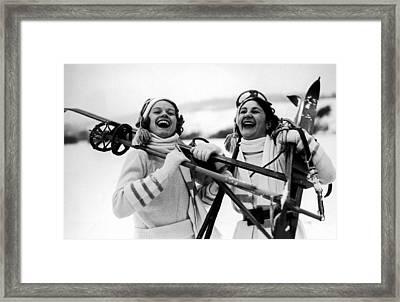 Happy Skiers Framed Print by Fox Photos