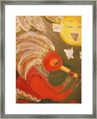 Happy Sun And Kokopelli With Feathers Framed Print by Anne-Elizabeth Whiteway