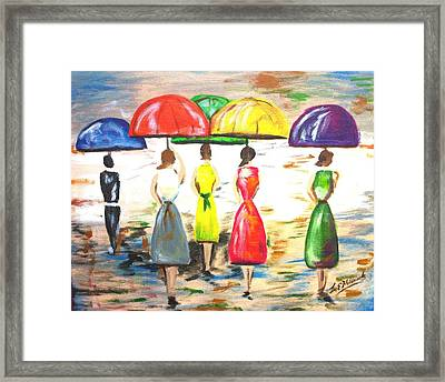 Happy Umbrellas Framed Print by Lee Halbrook