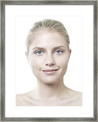 Happy Young Woman Framed Print by