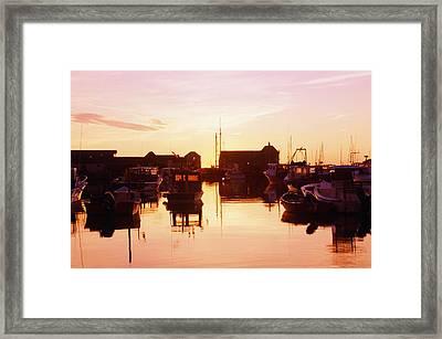 Harbor At Sunrise Framed Print by Bilderbuch