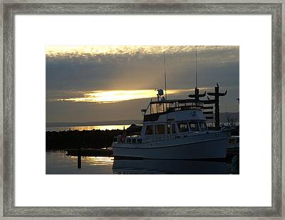 Framed Print featuring the photograph Harbor At Sunset by Jerry Cahill