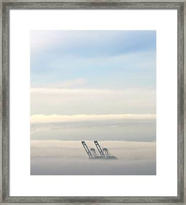 Framed Print featuring the photograph Harbor Cranes In Fog by Sean Griffin