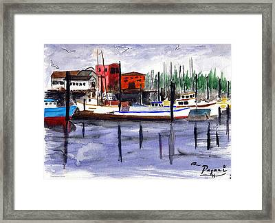 Harbor Fishing Boats Framed Print