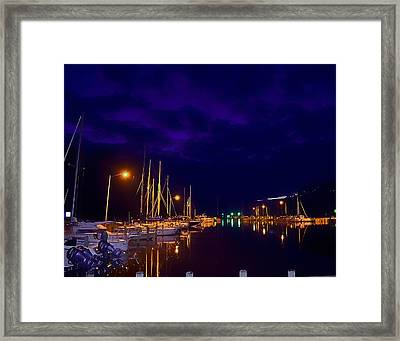 Framed Print featuring the photograph Harbor Nights by Kelly Reber