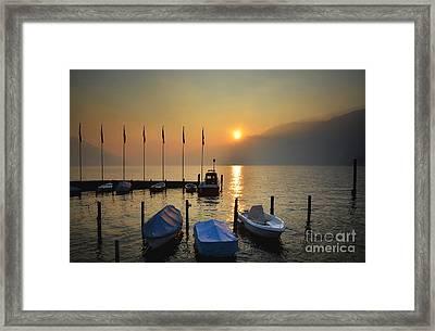 Harbor On A Foggy Lake Framed Print
