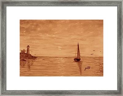 Harbor Sunset Framed Print by Georgeta  Blanaru