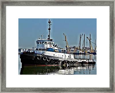 Harbor Tug Framed Print by John Collins