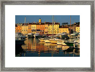 Harbour Boats And Waterfront Houses, St Tropez, Provence-alpes-cote D'azur, France, Europe Framed Print