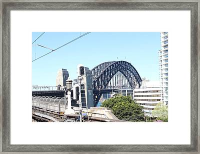 Harbour Bridge From Station Framed Print by Allen Jiang