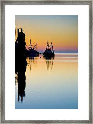 Framed Print featuring the photograph Harbour Sunrise by Trevor Chriss