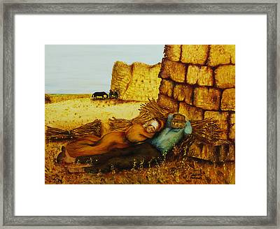 Framed Print featuring the painting Hard Labor Fatigue by Itzhak Richter