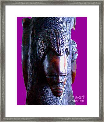 Hardwood Carving Of Native African Woman Framed Print
