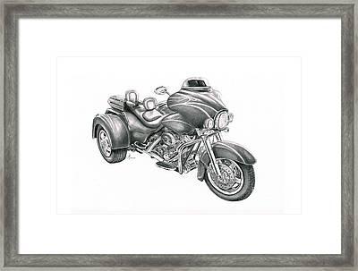 Harley Davidson Trike Framed Print by Murphy Elliott