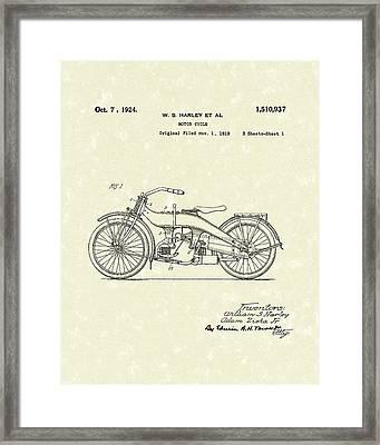 Harley Motorcycle 1924 Patent Art Framed Print