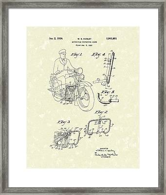 Harley Motorcycle 1934 Patent Art Framed Print