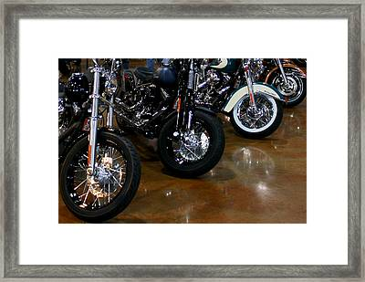 Harley Wheels Framed Print by Karen Harrison