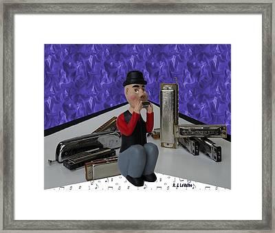 Harmonica Guy Framed Print