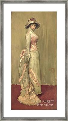 Harmony In Pink And Grey Lady Meaux Framed Print by James Abbott McNeill Whistler